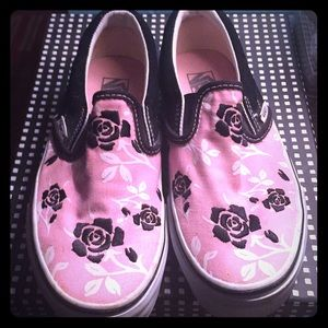 Women's Vans slip-on sz 6 pink w- black flowers